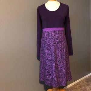 Prana Long Sleeve Empire Waist Purple Dress